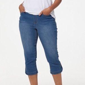 Denim&co pull-on Capri jeans snap tulip hem 16